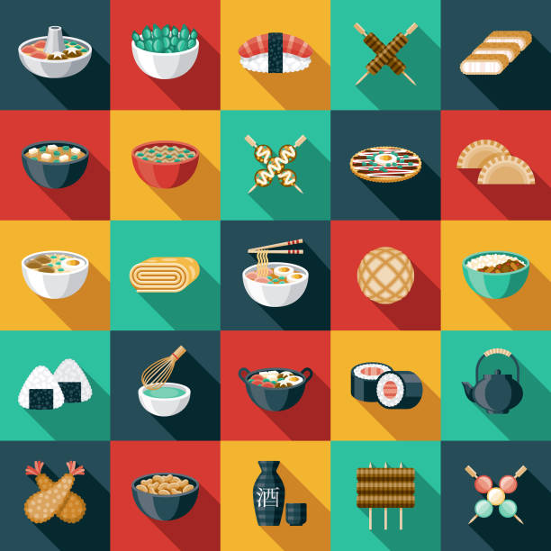 japanese food icon set - japanese food stock illustrations