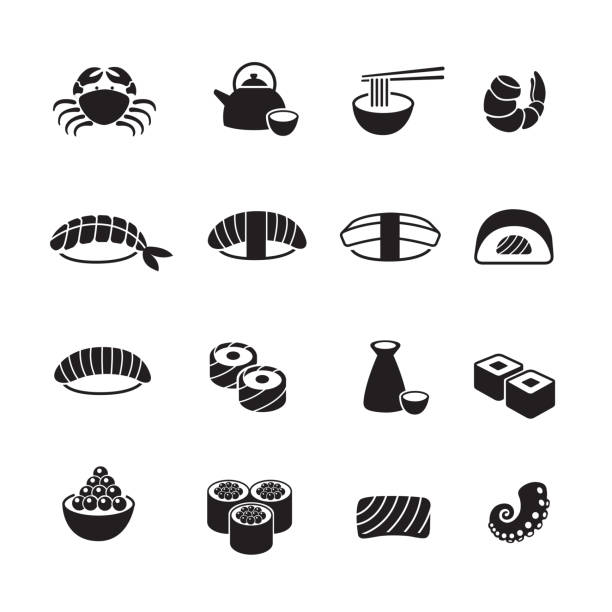 Japanese food icons set Japanese food icons set, Set of 16 editable filled, Simple clearly defined shapes in one color. serving dish stock illustrations