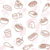 Simple japanese food line art icon seamless wallpaper pattern.