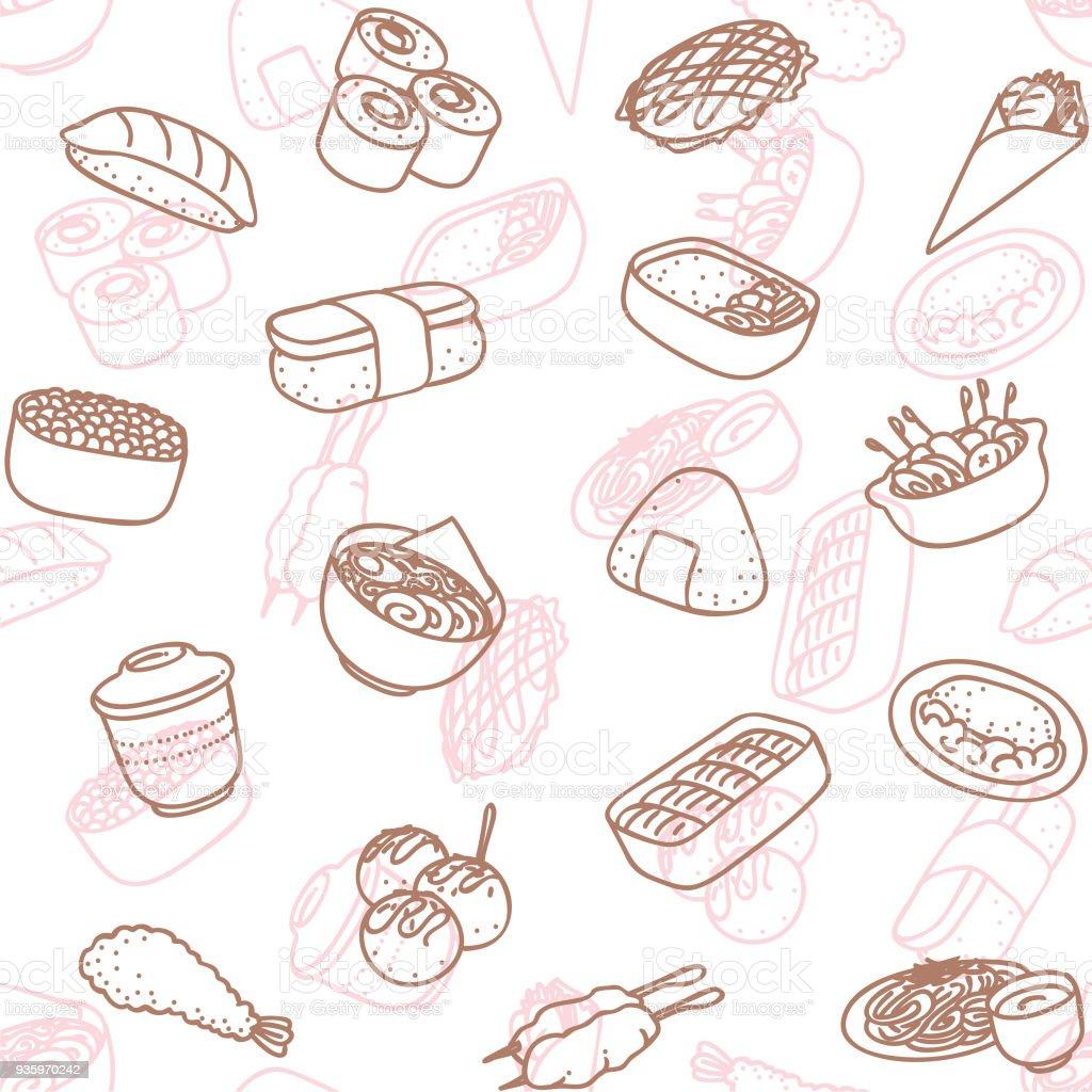 japanese food line art icon seamless wallpaper pattern vector art illustration
