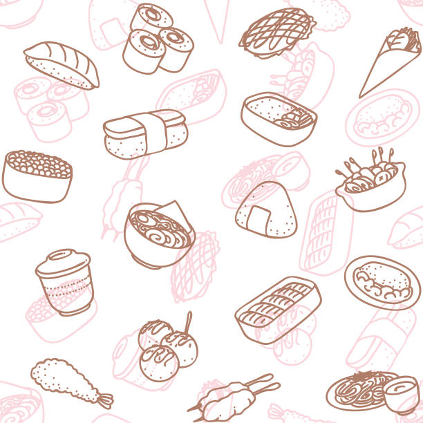 japanese food line art icon seamless wallpaper pattern - japanese food stock illustrations