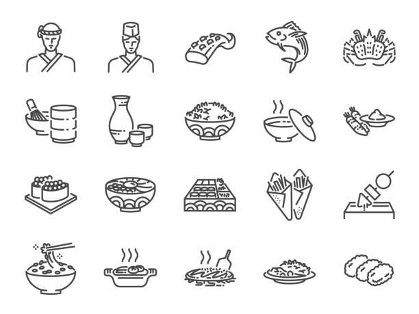 日本料理行アイコンは、1 を設定します。寿司、刺身、マキ、ロール寿司、とんかつとアイコンが含まれています。 - 和食点のイラスト素材/クリップアート素材/マンガ素材/アイコン素材