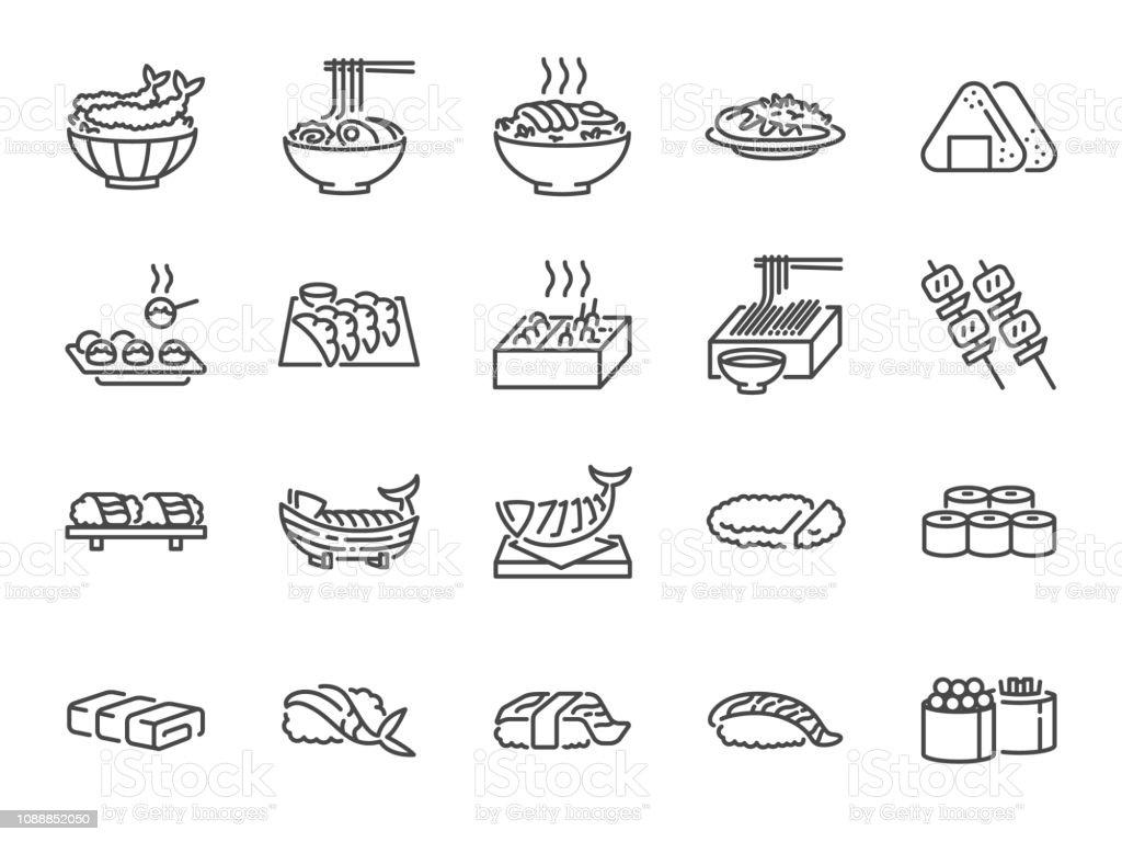 1 do conjunto de ícones de linha de comida japonesa. Incluídos os ícones como sushi, sashimi, maki, rolo de sushi, Tonkatsu e muito mais. - Vetor de Aplicação móvel royalty-free