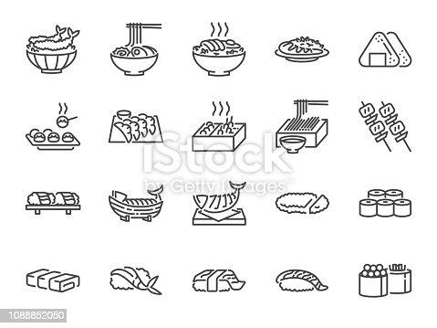 Japanese food line icon set 1. Included the icons as sushi, sashimi, maki, sushi roll, Tonkatsu and more.