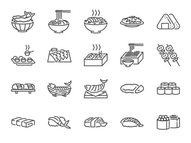 ilustrações de stock, clip art, desenhos animados e ícones de japanese food line icon set 1. included the icons as sushi, sashimi, maki, sushi roll, tonkatsu and more. - tempura