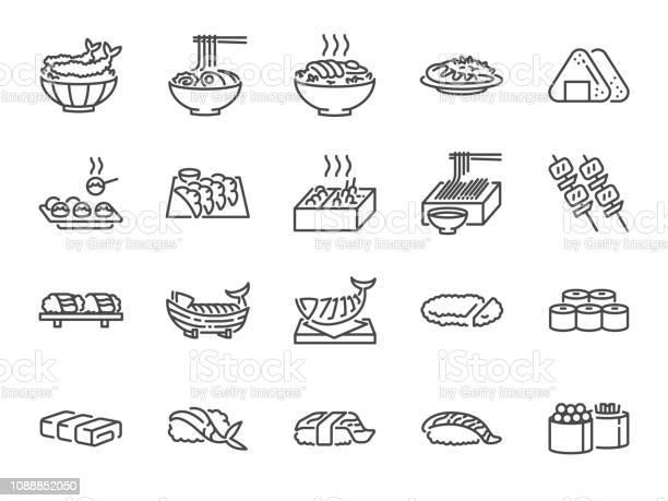 Vetores de 1 Do Conjunto De Ícones De Linha De Comida Japonesa Incluídos Os Ícones Como Sushi Sashimi Maki Rolo De Sushi Tonkatsu E Muito Mais e mais imagens de Aplicação móvel