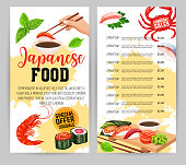 Japanese food menu design. Sushi rolls bar lunch flyer template with seafood. Vector illustration.