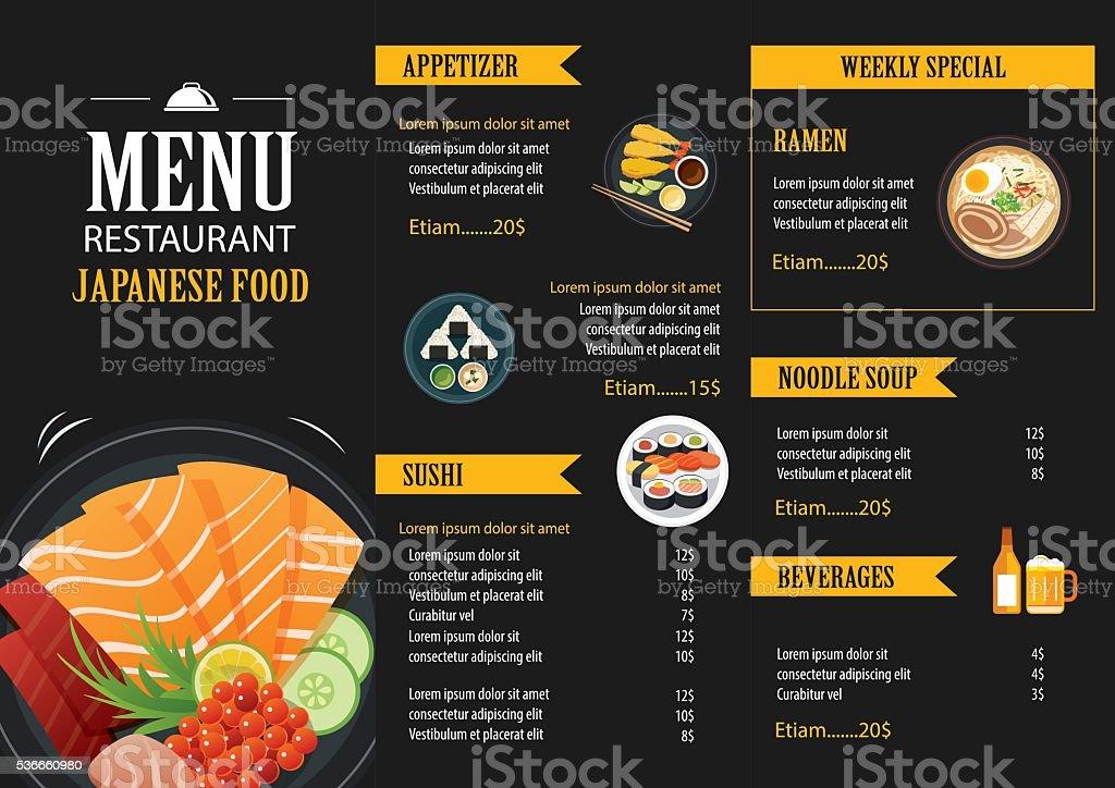 Cuisine japonaise brochure Modèle de conception de menu restaurant - Illustration vectorielle