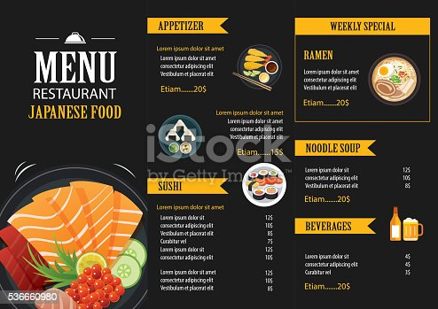 Japanese food menu restaurant brochure design template for Akina japanese cuisine menu