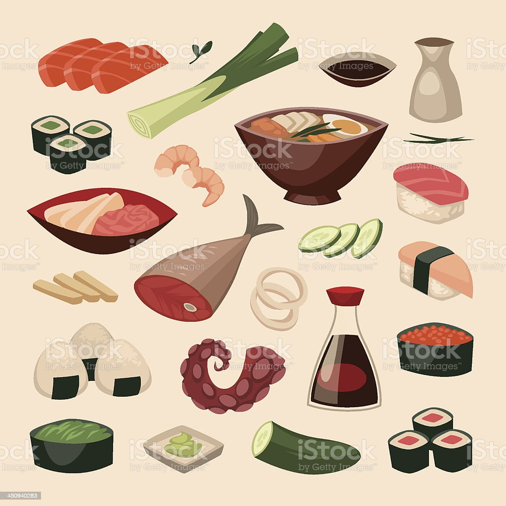 Japanese food. Objects set royalty-free stock vector art