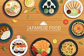 japanese food on a wooden background.Vector japanese food top view.