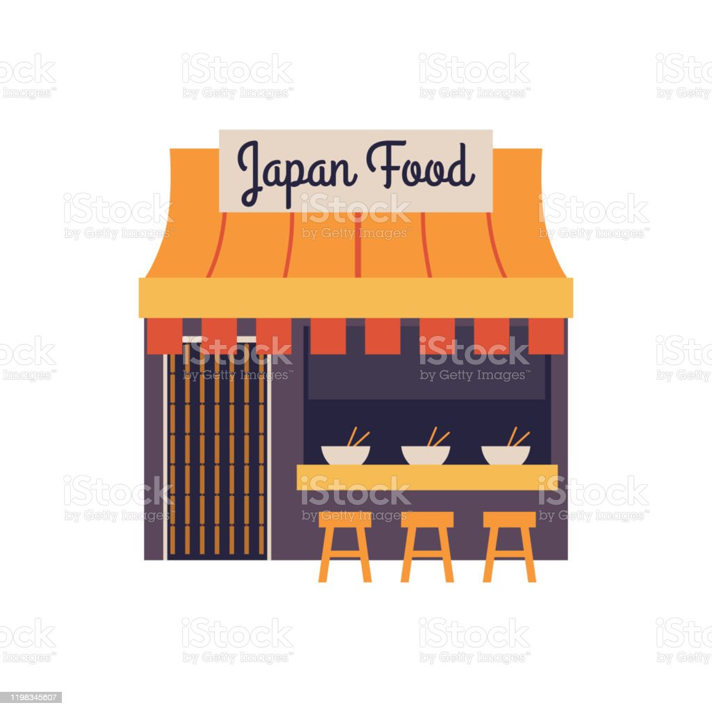 Japanese Food Restaurant Building Exterior Front Facade Of Ramen Cafe In Japan Stock Illustration Download Image Now Istock