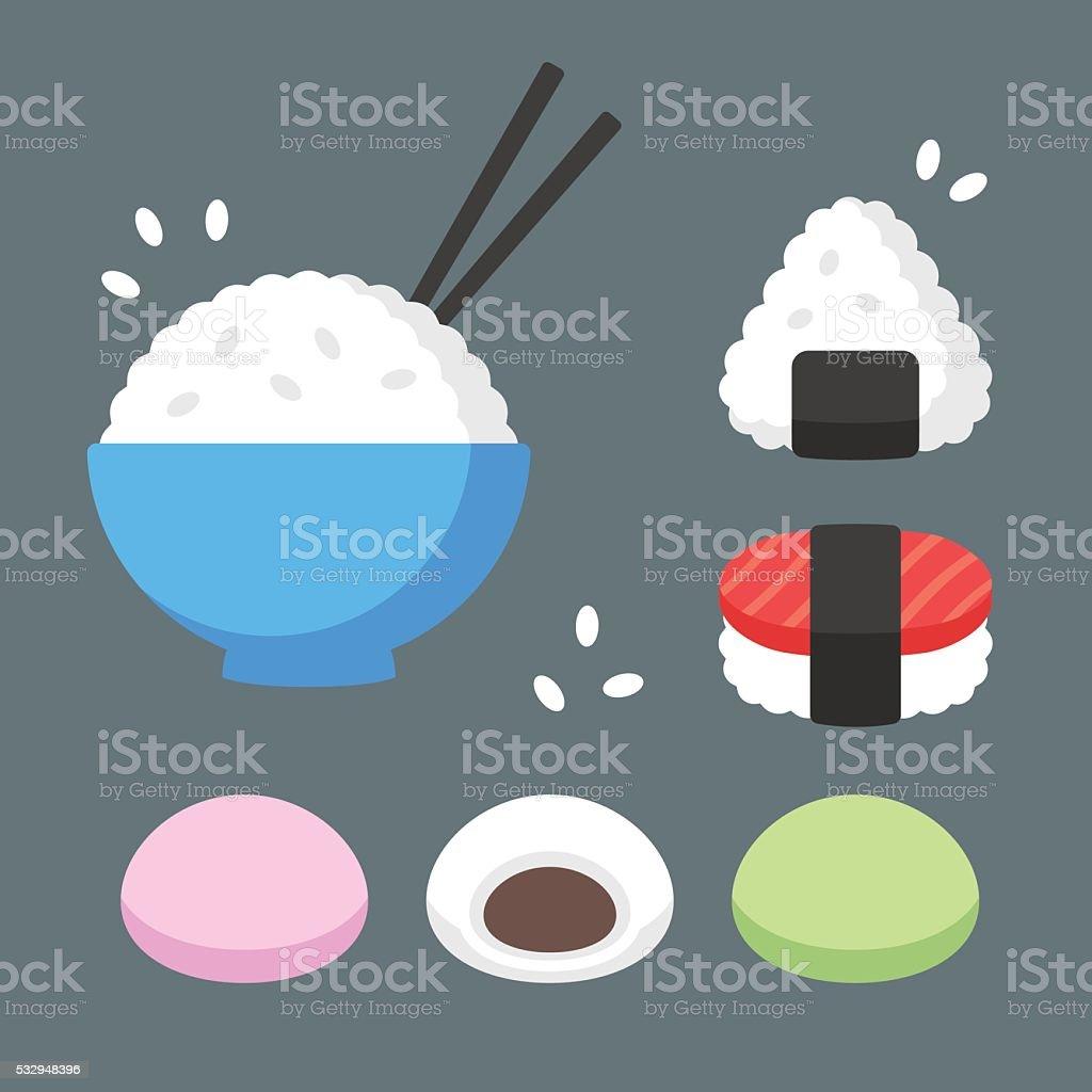 Japanese food rice dishes vector art illustration