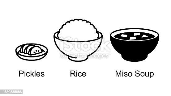 istock Japanese food, rice, miso soup, pickled radish. 1330838686