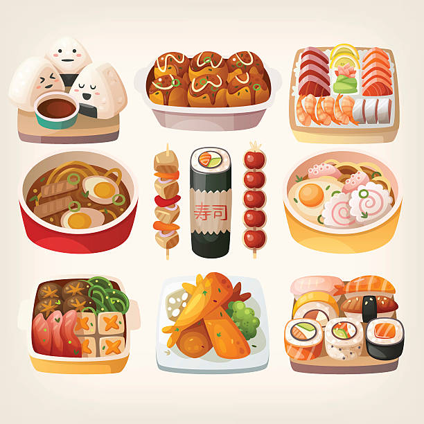 japanese food stickers. - japanese food stock illustrations