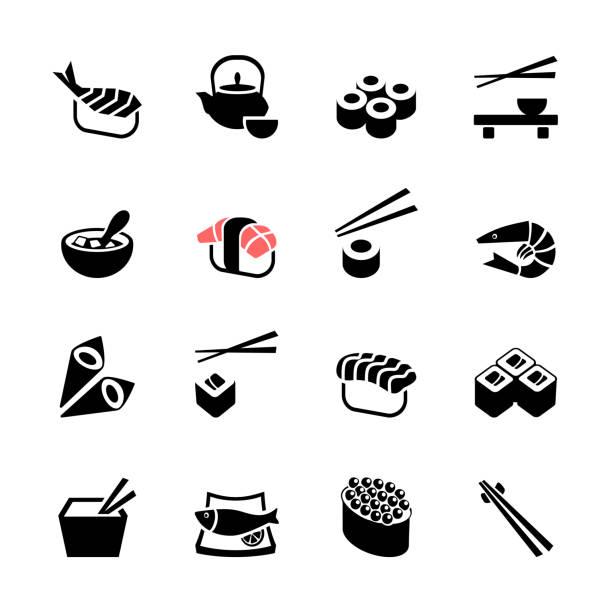 日本料理「寿司のアイコンセット - 和食点のイラスト素材/クリップアート素材/マンガ素材/アイコン素材