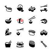 Japanese food Sushi icon set