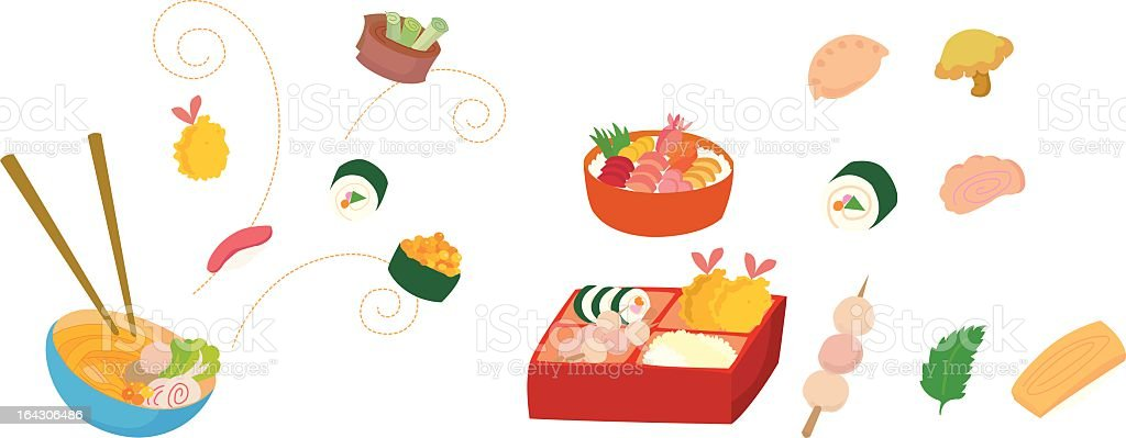 Japanese food Japanese food icons. Arts Culture and Entertainment stock vector