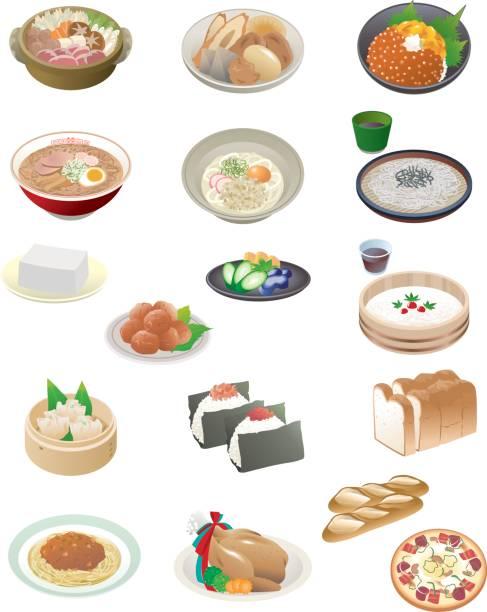 stockillustraties, clipart, cartoons en iconen met japans eten - sobanoedels