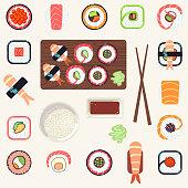 Japanese food vector illustration set