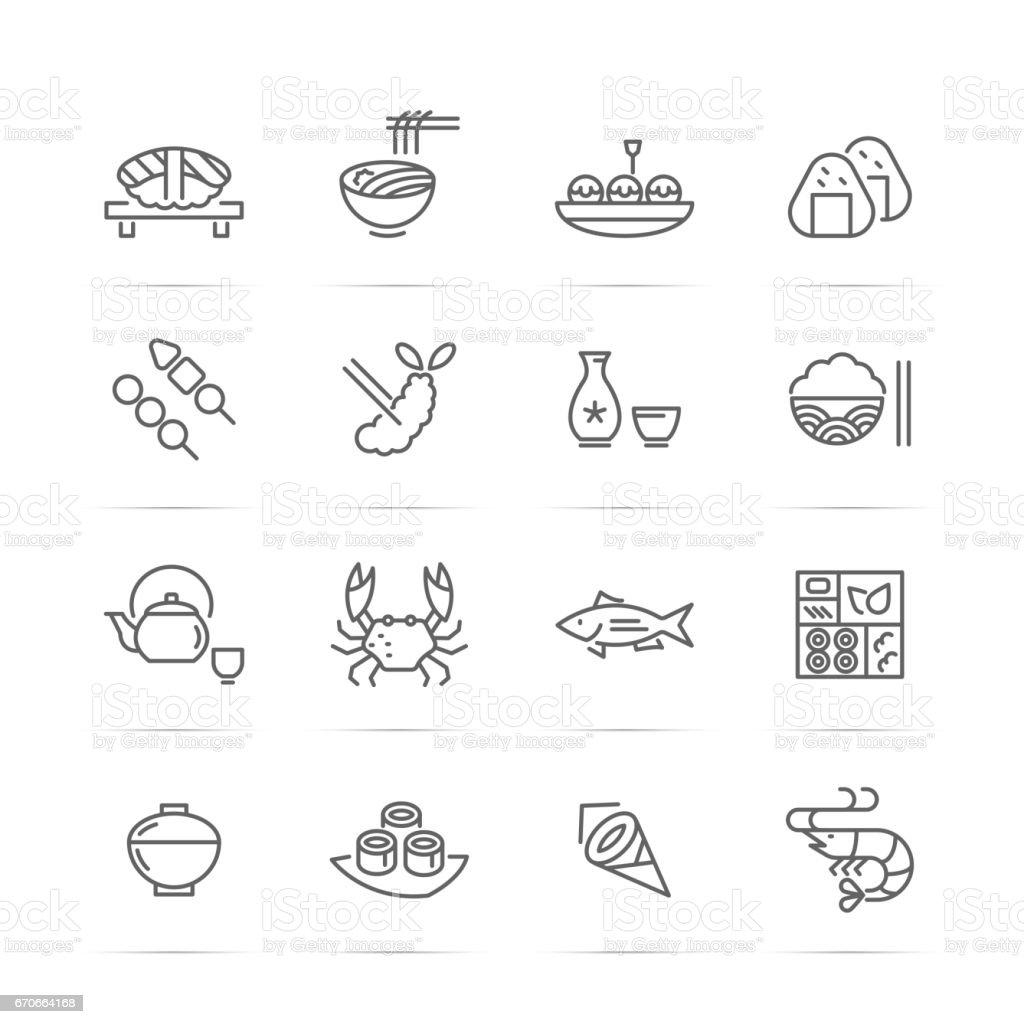 japanese food vector line icons ベクターアートイラスト