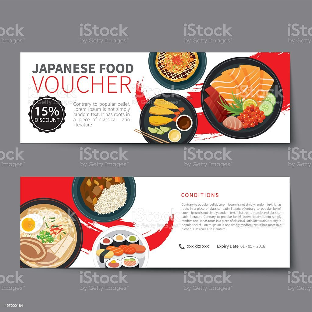 Japanese Food Voucher Discount Template Flat Design Royalty Free Japanese Food  Voucher Discount Template Flat  Lunch Voucher Template
