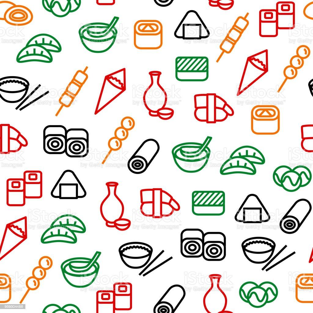 日本食のシームレスなパターン背景。ベクトル ベクターアートイラスト