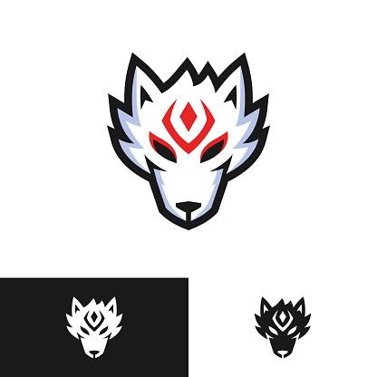japanese fox kitsune head logo design