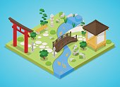 Japanese Garden with Bridge and Trees. Isometric