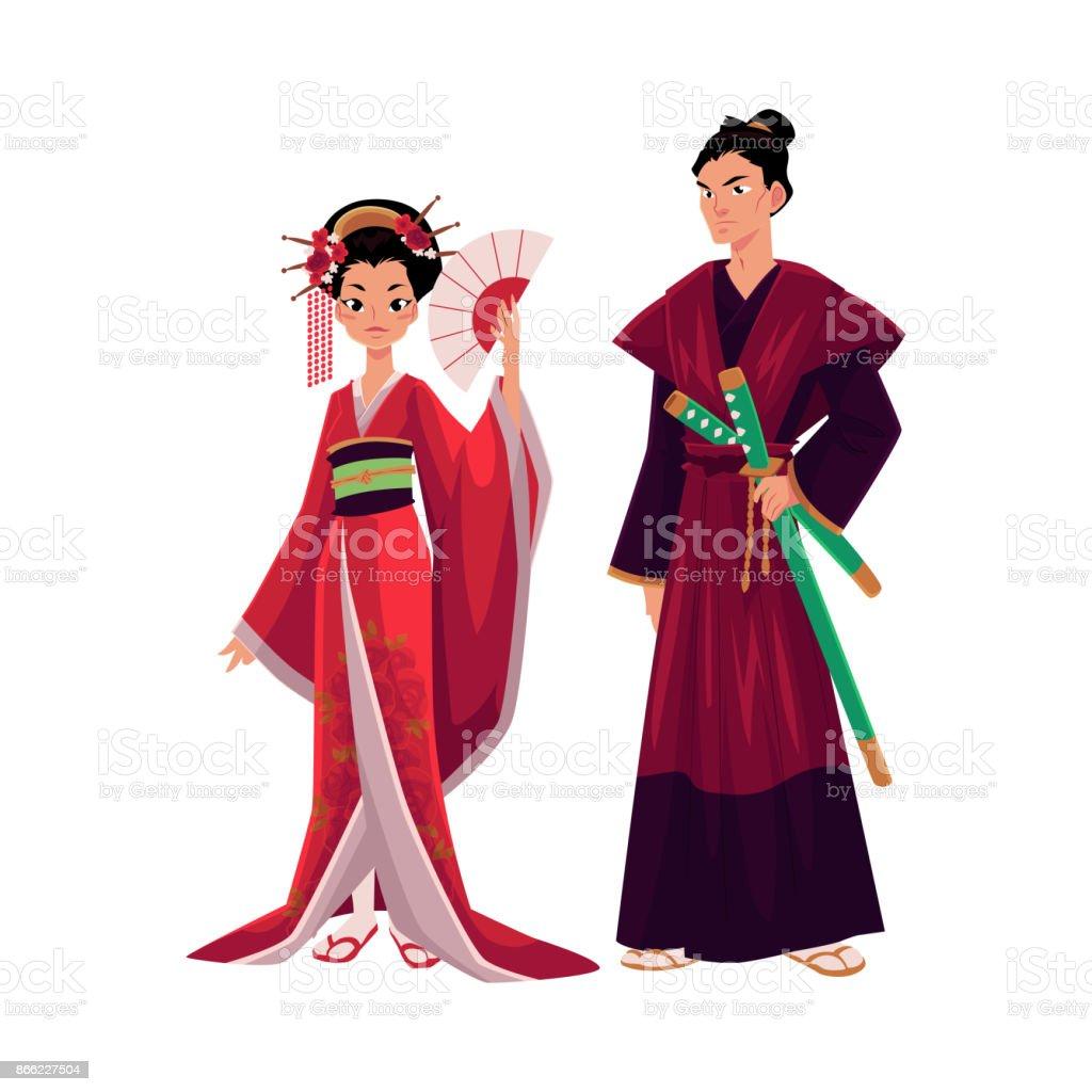 Ilustración de Japon Geisha Y Samurai En Kimono Tradicional Símbolos ...