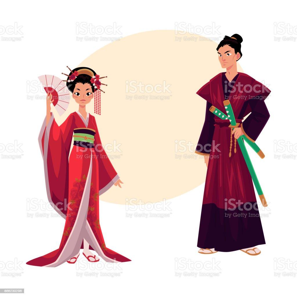 Japanese Geisha And Samurai In Traditional Kimono Symbols Of Japan ...