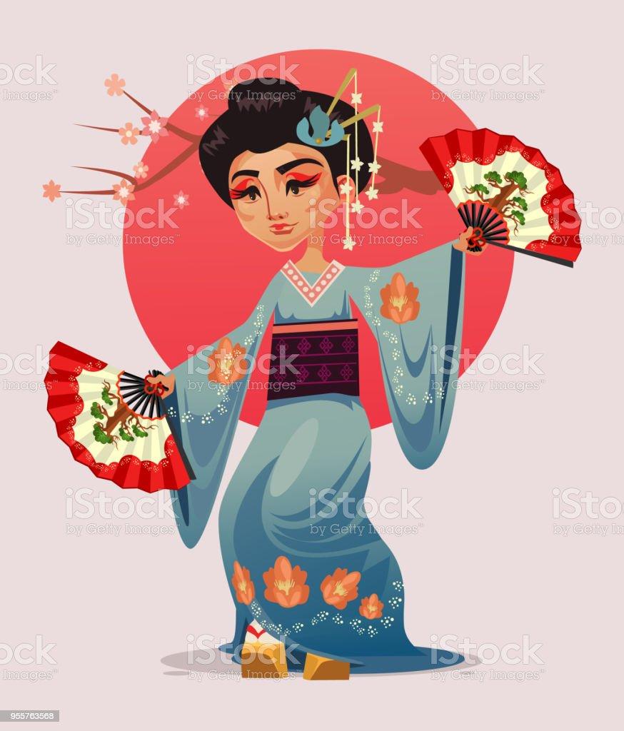 Ilustración De Carácter De Geisha Japonesa Chica Mujer Bailando Con