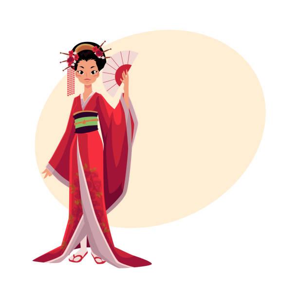 bildbanksillustrationer, clip art samt tecknat material och ikoner med japanska geisha i kimono håller solfjäder, symbol för japan - ancient white background