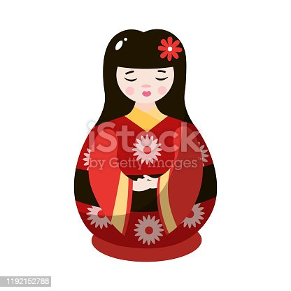 istock Japanese geisha nesting doll in colorful national costume. Vector illustration in flat cartoon style 1192152788