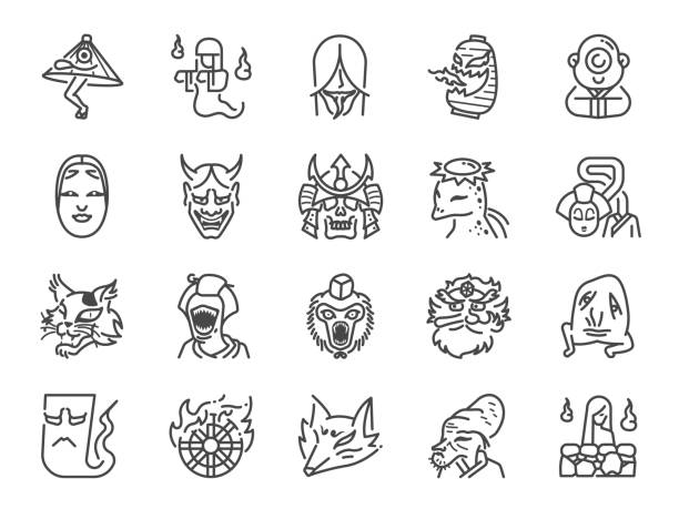 japanese ghost line icon set. included icons as spirit, monster, demon, folklore and more. - old man mask stock illustrations
