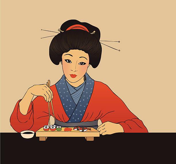 ilustrações de stock, clip art, desenhos animados e ícones de menina japonesa sushi desfrute - woman eating salmon