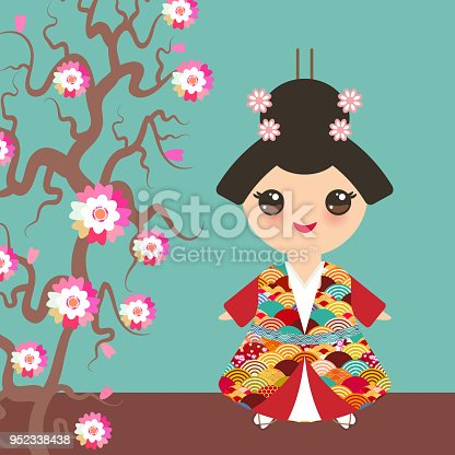 Ilustración de Chica Japonesa En Traje Nacional Kimono Los Niños De ...