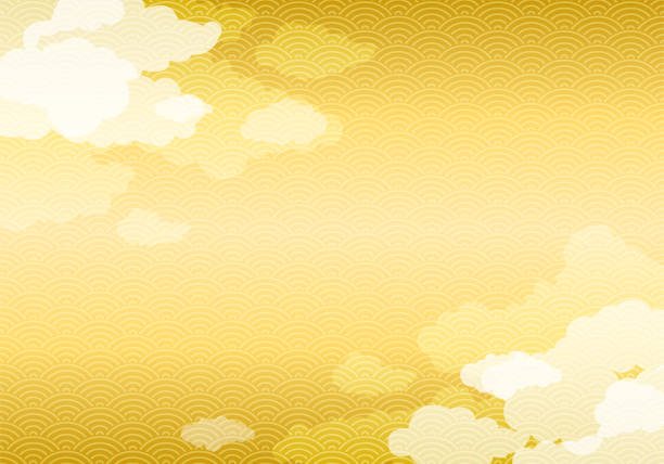 Japanese gold pattern background with cloud Vector EPS 10 format. japanese culture stock illustrations