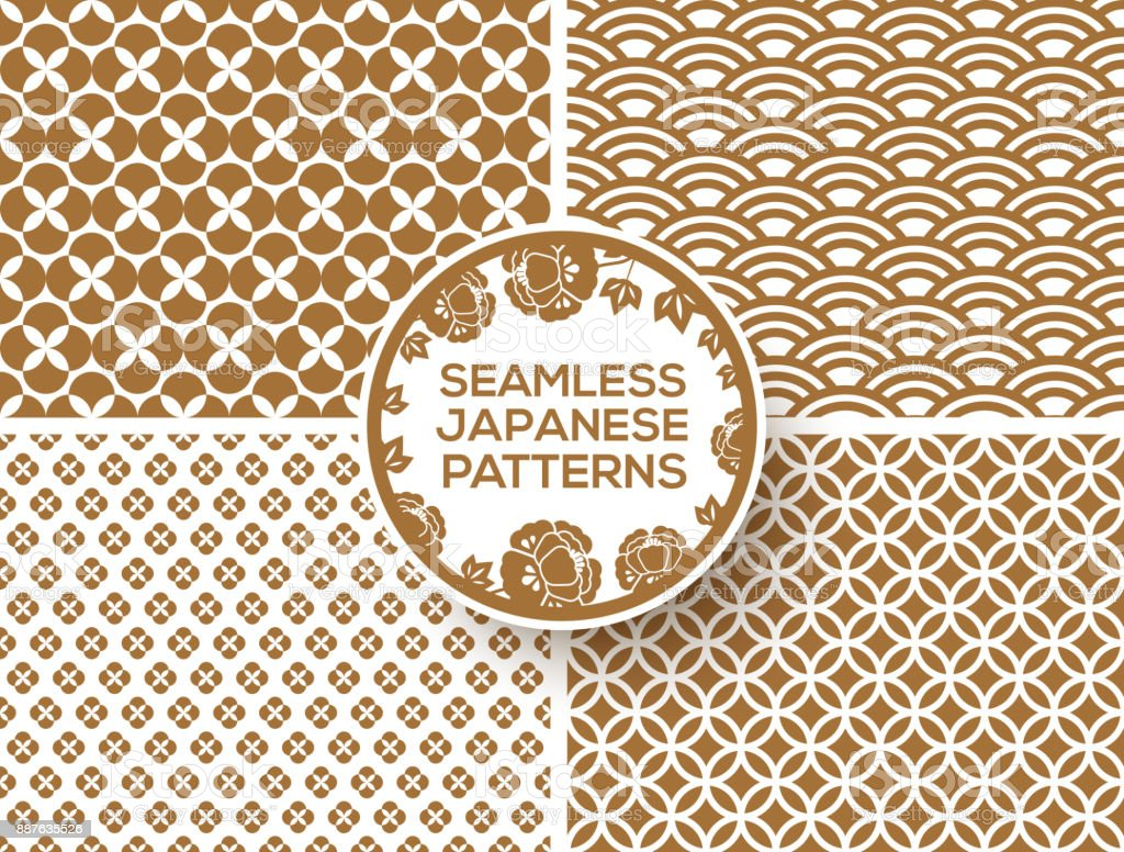 Japanese gold seamless patterns vector art illustration