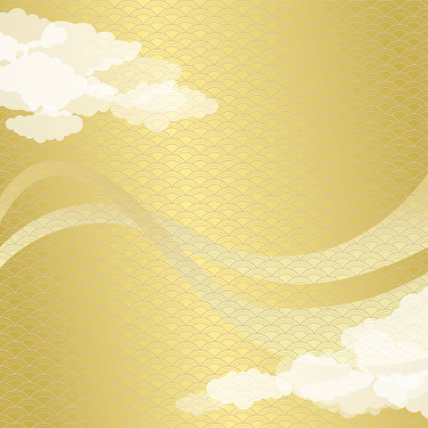 日本の金の波パターンと雲の背景 - 特別な日点のイラスト素材/クリップアート素材/マンガ素材/アイコン素材