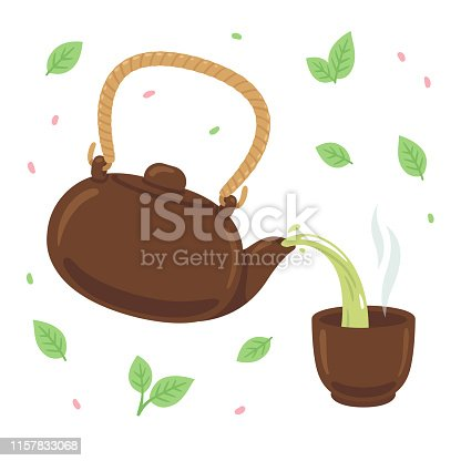 Japanese or Chinese green tea drawing. Pouring tea from teapot into steaming cup, surrounded by tea leaves and petals. Isolated vector illustration.