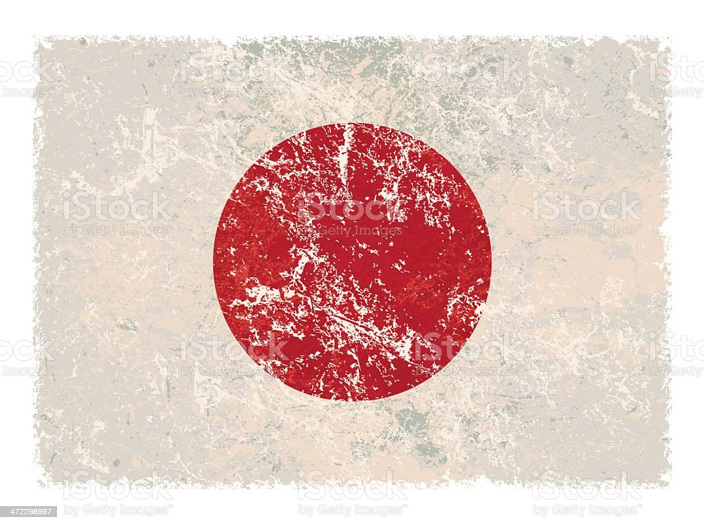 Japanese grunge flag vector art illustration