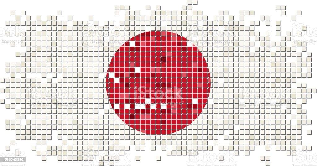Azulejos de grunge de bandera japonesa. Ilustración vectorial - ilustración de arte vectorial