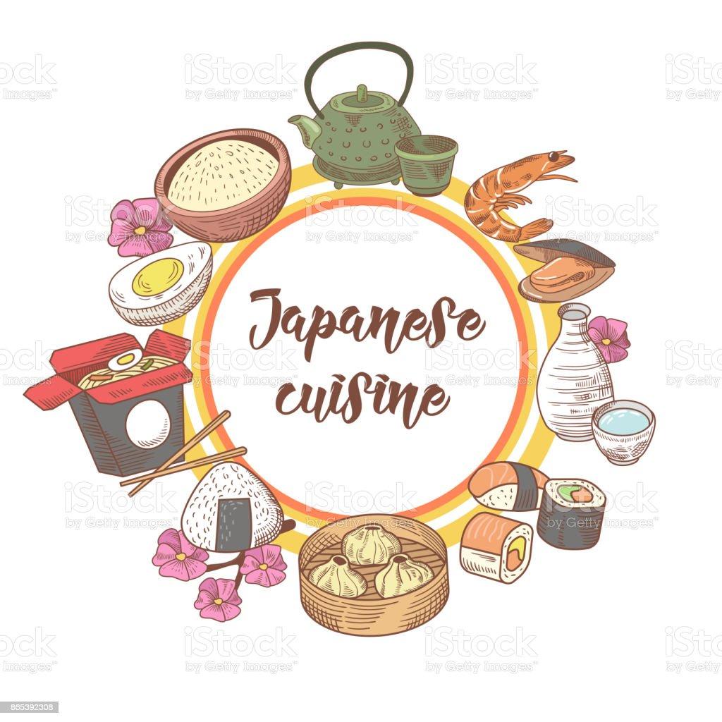 Japanischer Hand Gezeichnete Fooddesign Japanküche Stock Vektor Art ...