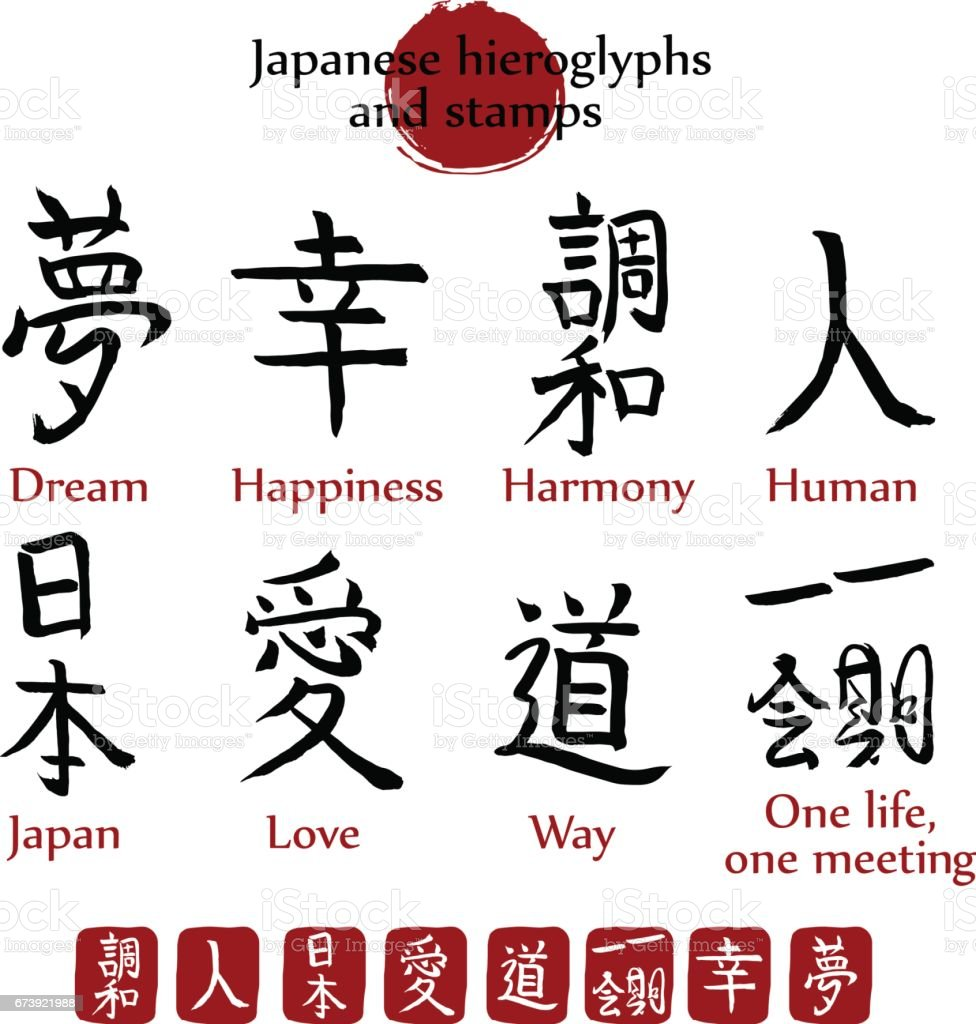 Japanese Hieroglyphs And Stamps Vector Set 8 Popular Japan