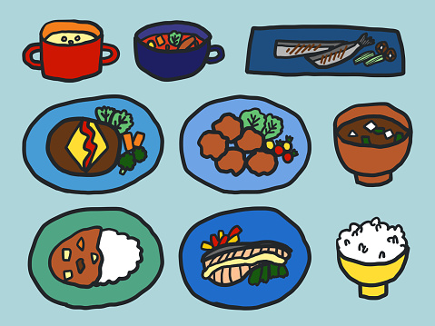 Japanese Home Cooking. Collection of hand-drawn flat illustrations of Japanese and Western dishes, soup and rice