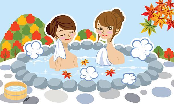 bildbanksillustrationer, clip art samt tecknat material och ikoner med japanese hot spring in autumn, two young women - japanese bath woman