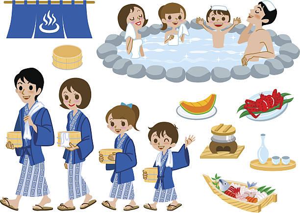 bildbanksillustrationer, clip art samt tecknat material och ikoner med japanese hot springs set, family - japanese bath woman