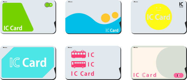 Japanese IC card set This is a vector illustration. train ticket stock illustrations