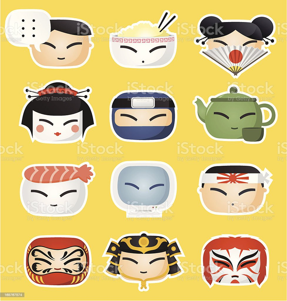 Japanese icon faces vector art illustration